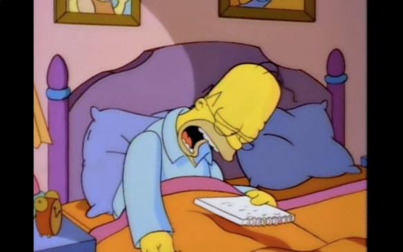 Homer asleep over book